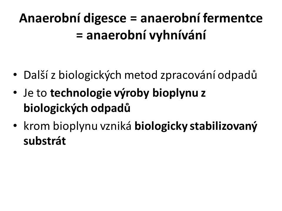 Anaerobní digesce = anaerobní fermentce = anaerobní vyhnívání Další z biologických metod zpracování odpadů Je to technologie výroby bioplynu z biologických odpadů krom bioplynu vzniká biologicky stabilizovaný substrát