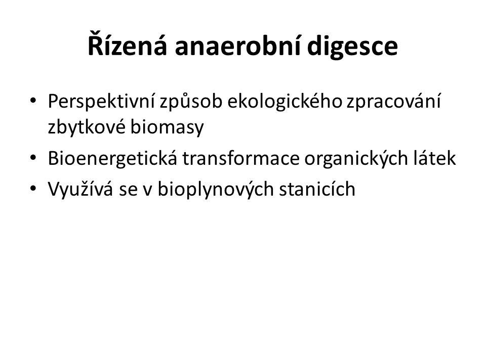 Řízená anaerobní digesce Perspektivní způsob ekologického zpracování zbytkové biomasy Bioenergetická transformace organických látek Využívá se v biopl