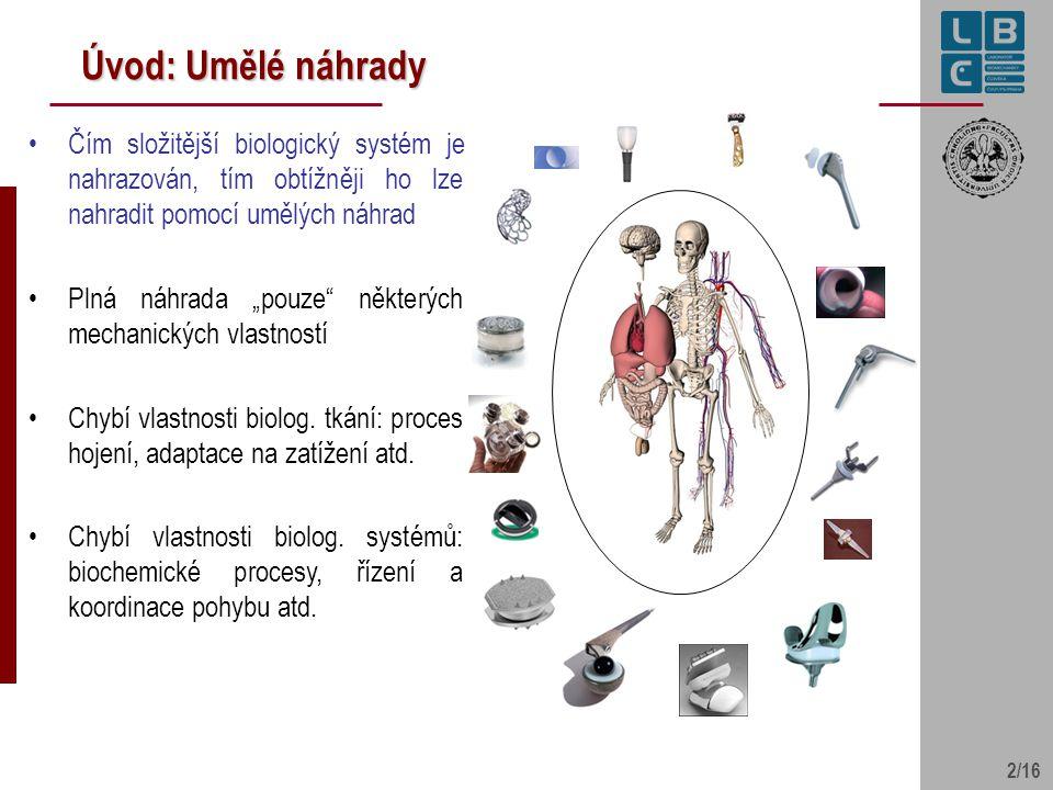 """2/16 Úvod: Umělé náhrady Čím složitější biologický systém je nahrazován, tím obtížněji ho lze nahradit pomocí umělých náhrad Plná náhrada """"pouze"""" někt"""