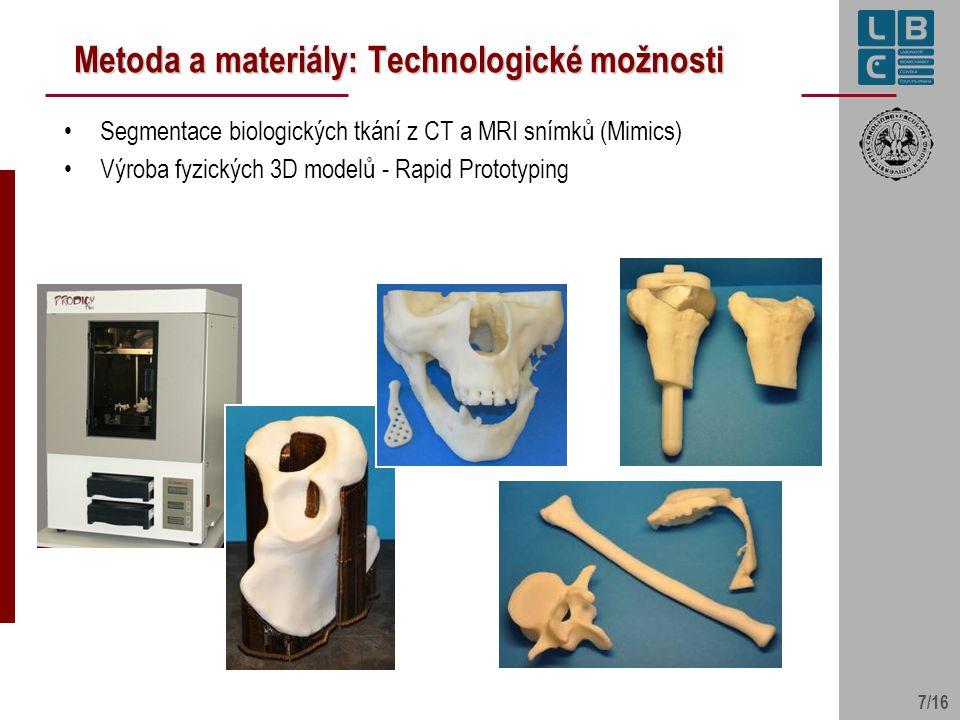 7/16 Metoda a materiály: Technologické možnosti Segmentace biologických tkání z CT a MRI snímků (Mimics) Výroba fyzických 3D modelů - Rapid Prototypin