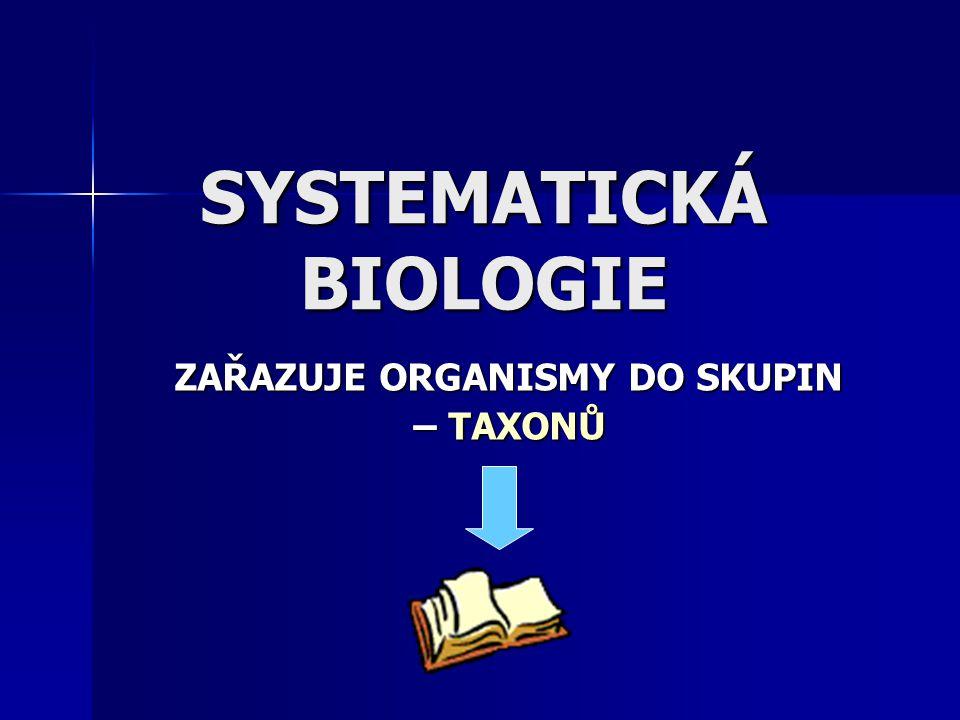 SYSTEMATICKÁ BIOLOGIE ZAŘAZUJE ORGANISMY DO SKUPIN – TAXONŮ