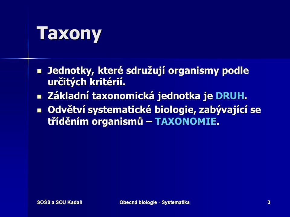 SOŠS a SOU KadaňObecná biologie - Systematika3 Taxony Jednotky, které sdružují organismy podle určitých kritérií.