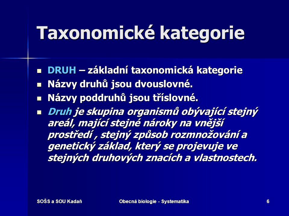 SOŠS a SOU KadaňObecná biologie - Systematika6 Taxonomické kategorie DRUH – základní taxonomická kategorie DRUH – základní taxonomická kategorie Názvy druhů jsou dvouslovné.