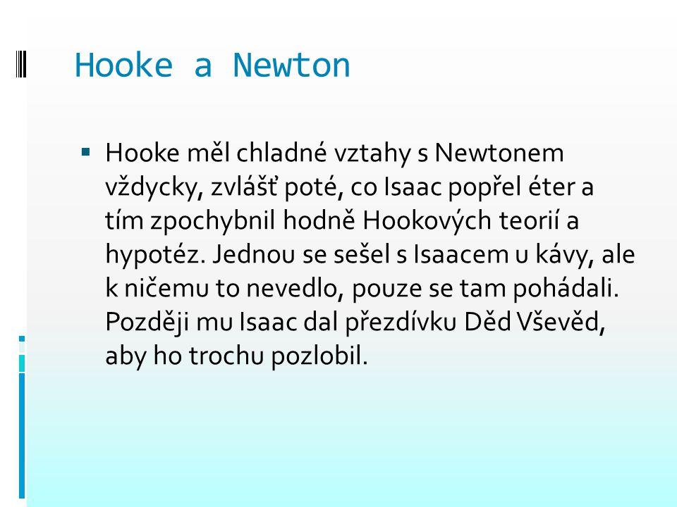 Hooke a Newton  Hooke měl chladné vztahy s Newtonem vždycky, zvlášť poté, co Isaac popřel éter a tím zpochybnil hodně Hookových teorií a hypotéz. Jed