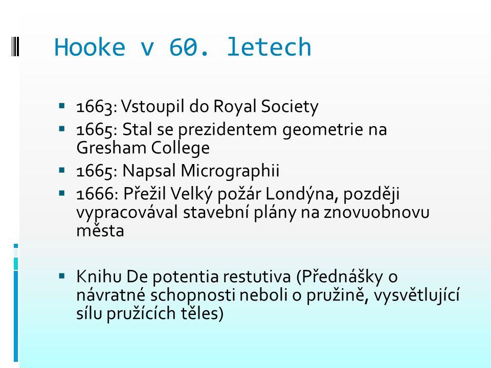 Hooke v 60. letech  1663: Vstoupil do Royal Society  1665: Stal se prezidentem geometrie na Gresham College  1665: Napsal Micrographii  1666: Přež