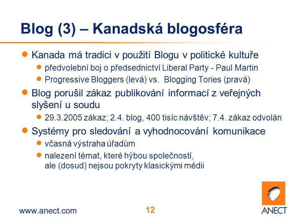 12 Blog (3) – Kanadská blogosféra Kanada má tradici v použití Blogu v politické kultuře předvolební boj o předsednictví Liberal Party - Paul Martin Progressive Bloggers (levá) vs.