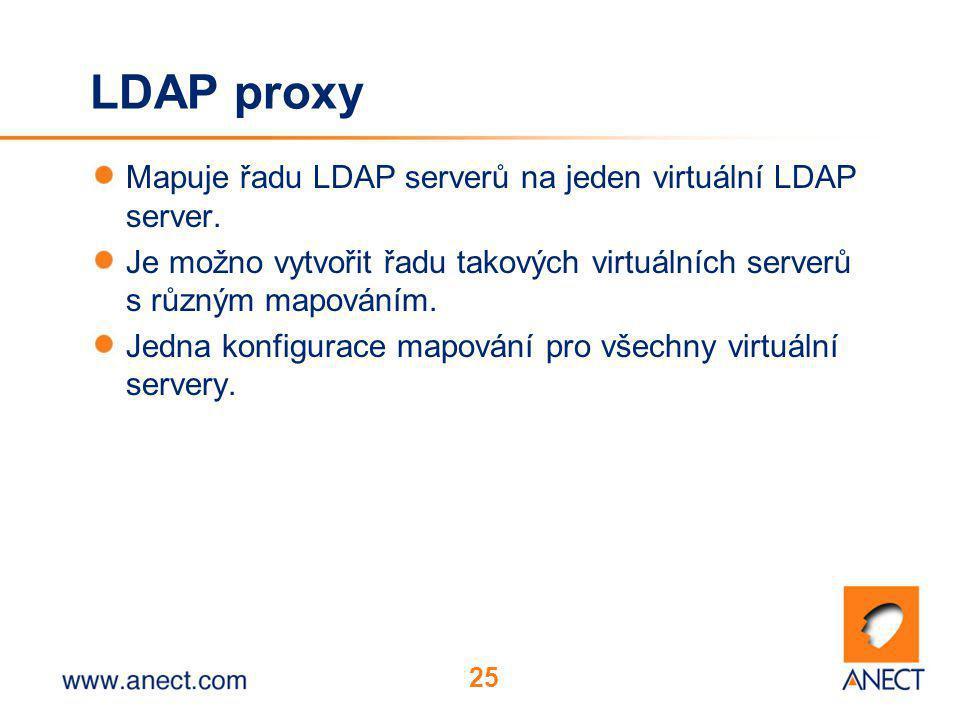 25 LDAP proxy Mapuje řadu LDAP serverů na jeden virtuální LDAP server. Je možno vytvořit řadu takových virtuálních serverů s různým mapováním. Jedna k