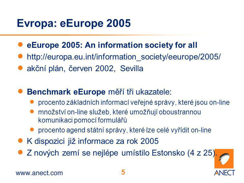 5 Evropa: eEurope 2005 eEurope 2005: An information society for all http://europa.eu.int/information_society/eeurope/2005/ akční plán, červen 2002, Sevilla Benchmark eEurope měří tři ukazatele: procento základních informací veřejné správy, které jsou on-line množství on-line služeb, které umožňují oboustrannou komunikaci pomocí formulářů procento agend státní správy, které lze celé vyřídit on-line K dispozici již informace za rok 2005 Z nových zemí se nejlépe umístilo Estonsko (4 z 25).