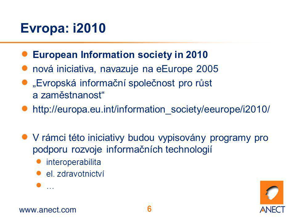 """6 Evropa: i2010 European Information society in 2010 nová iniciativa, navazuje na eEurope 2005 """"Evropská informační společnost pro růst a zaměstnanost http://europa.eu.int/information_society/eeurope/i2010/ V rámci této iniciativy budou vypisovány programy pro podporu rozvoje informačních technologií interoperabilita el."""