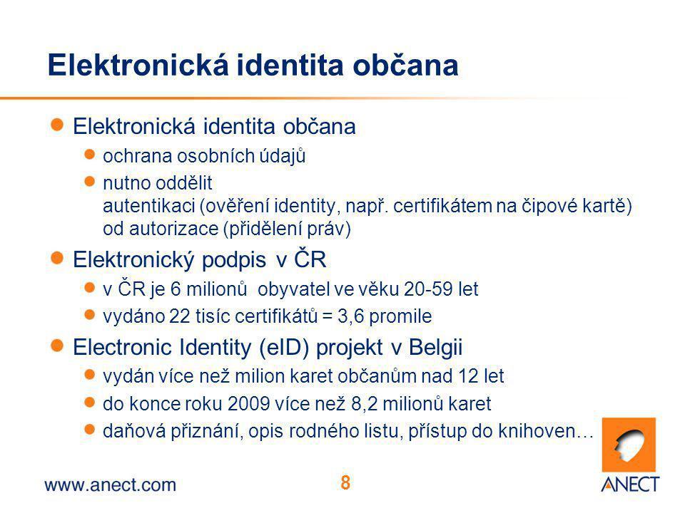 8 Elektronická identita občana ochrana osobních údajů nutno oddělit autentikaci (ověření identity, např. certifikátem na čipové kartě) od autorizace (