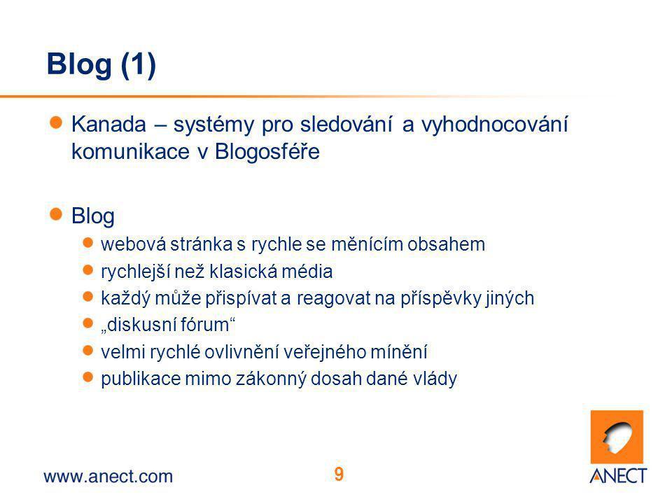 """9 Blog (1) Kanada – systémy pro sledování a vyhodnocování komunikace v Blogosféře Blog webová stránka s rychle se měnícím obsahem rychlejší než klasická média každý může přispívat a reagovat na příspěvky jiných """"diskusní fórum velmi rychlé ovlivnění veřejného mínění publikace mimo zákonný dosah dané vlády"""