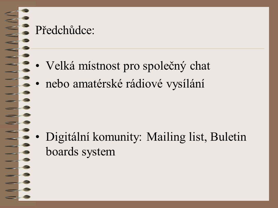 Předchůdce: Velká místnost pro společný chat nebo amatérské rádiové vysílání Digitální komunity: Mailing list, Buletin boards system