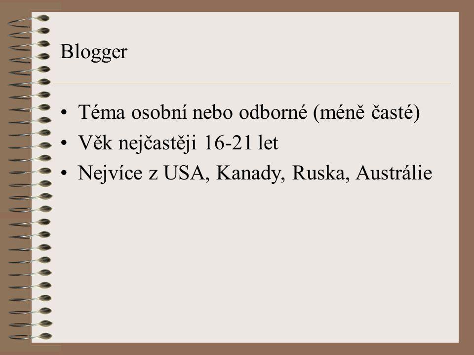 Blogger Téma osobní nebo odborné (méně časté) Věk nejčastěji 16-21 let Nejvíce z USA, Kanady, Ruska, Austrálie