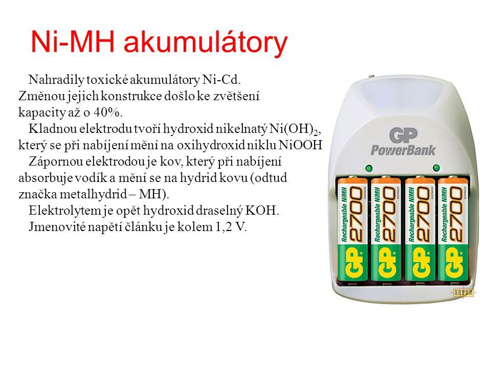 Ni-MH akumulátory Nahradily toxické akumulátory Ni-Cd. Změnou jejich konstrukce došlo ke zvětšení kapacity až o 40%. Kladnou elektrodu tvoří hydroxid