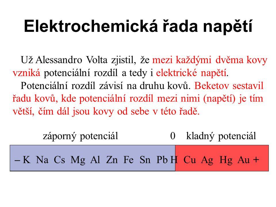 Elektrochemická řada napětí Už Alessandro Volta zjistil, že mezi každými dvěma kovy vzniká potenciální rozdíl a tedy i elektrické napětí. Potenciální