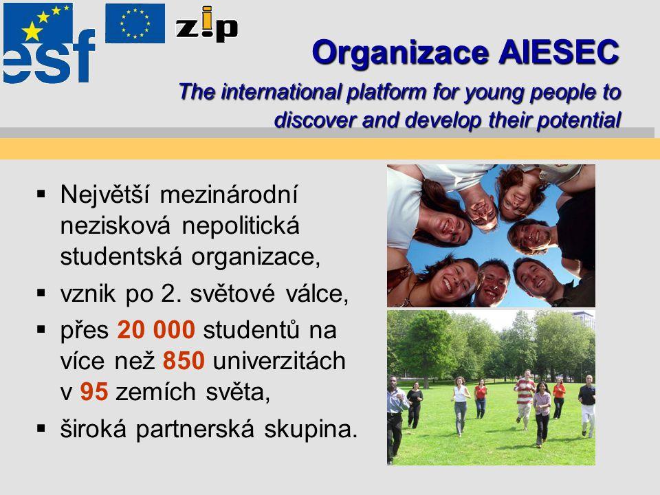 Pobočka AIESEC ČZU Praha  Jedna z nejmladších a dynamicky se rozvíjejících poboček AIESEC v České republice,  okolo 20 aktivních členů,  praktické vzdělání v oblasti managementu a vedení lidí,  řada národních i mezinárodních příležitostí.