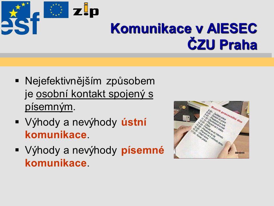 Komunikace v AIESEC ČZU Praha  Nejefektivnějším způsobem je osobní kontakt spojený s písemným.