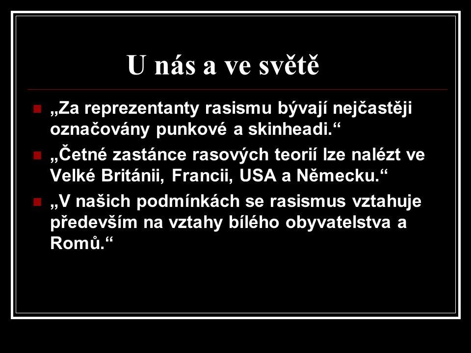 """""""V České republice rasismus rozhodně je, ale v okolních a jiných zemích je mnohem tvrdší a horší! """"U nás vznikají rvačky, krádeže a nanejvýš menší trestné činy! """"Kdežto například ve Francii a jinde kvůli rasismu vznikají národní nepokoje! ( Http://zsbobes.blog.cz/0606/uvaha-rasismus [online]."""