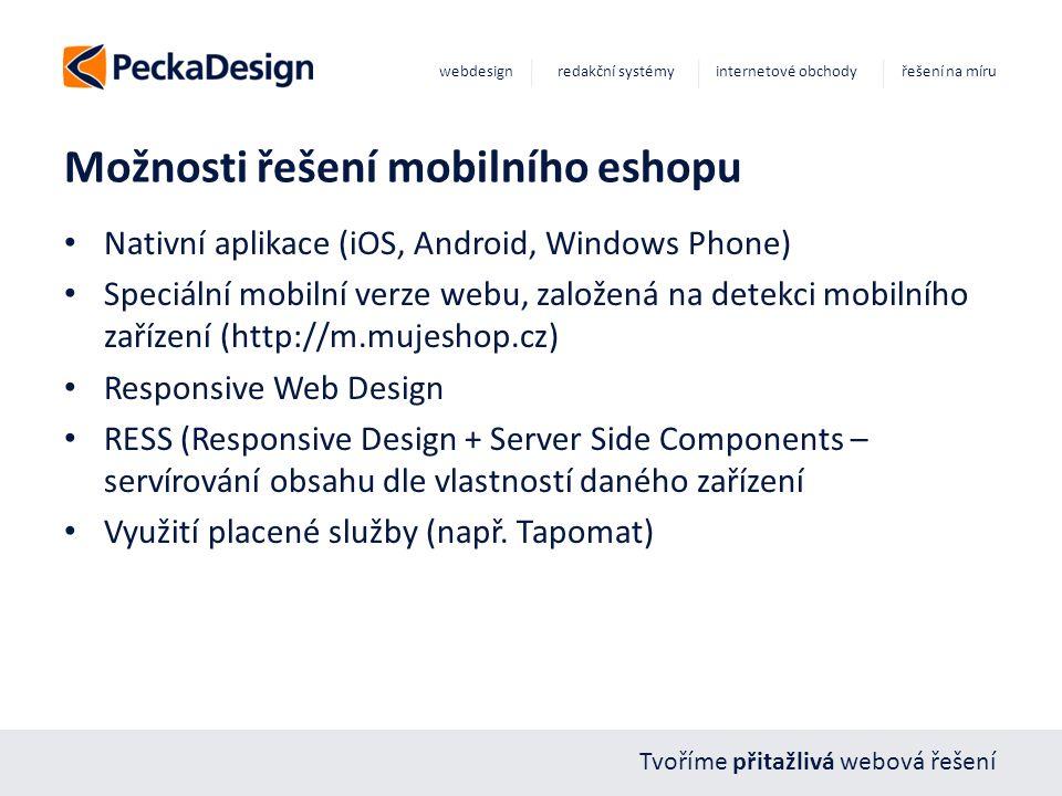 Tvoříme přitažlivá webová řešení webdesign redakční systémy internetové obchody řešení na míru Možnosti řešení mobilního eshopu Nativní aplikace (iOS,