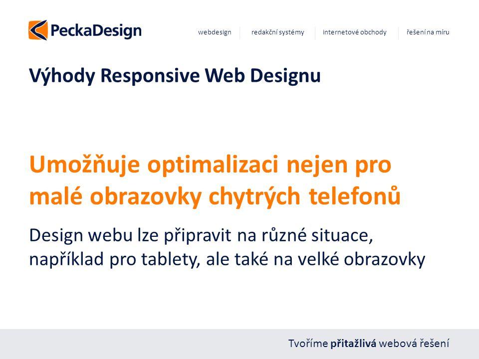 Tvoříme přitažlivá webová řešení webdesign redakční systémy internetové obchody řešení na míru Výhody Responsive Web Designu Umožňuje optimalizaci nej