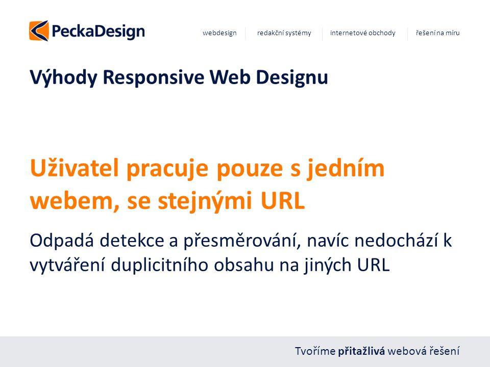 Tvoříme přitažlivá webová řešení webdesign redakční systémy internetové obchody řešení na míru Výhody Responsive Web Designu Uživatel pracuje pouze s jedním webem, se stejnými URL Odpadá detekce a přesměrování, navíc nedochází k vytváření duplicitního obsahu na jiných URL