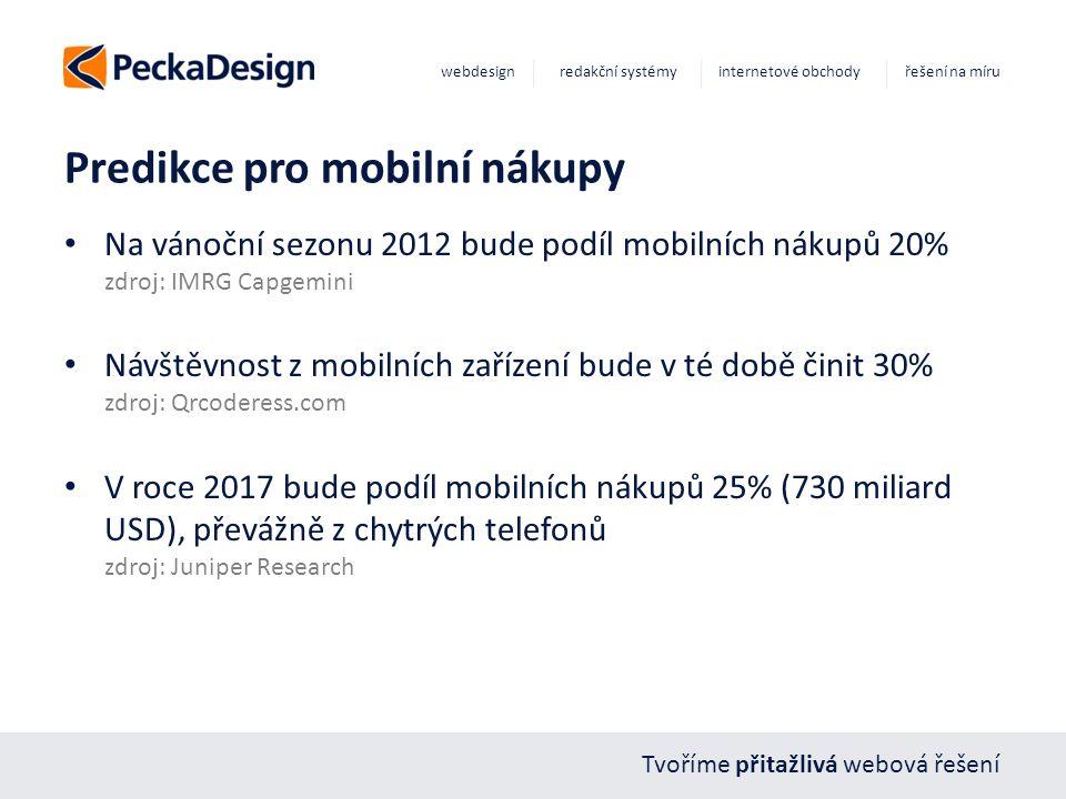 Tvoříme přitažlivá webová řešení webdesign redakční systémy internetové obchody řešení na míru Predikce pro mobilní nákupy Na vánoční sezonu 2012 bude