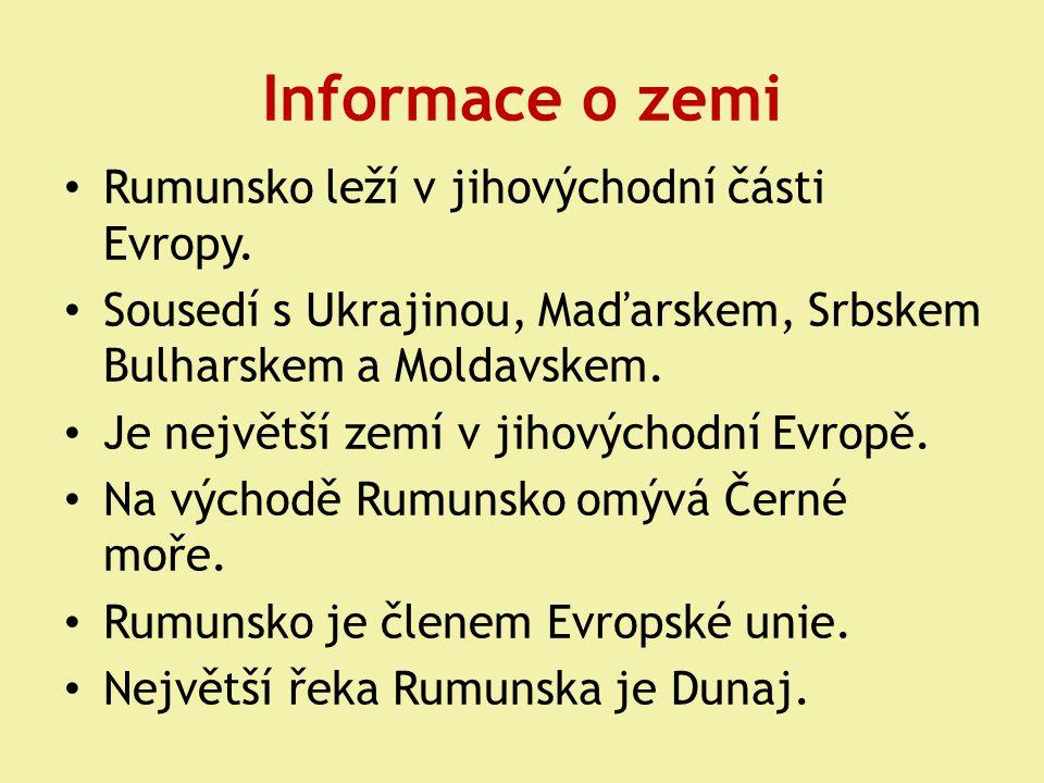 Informace o zemi Rumunsko leží v jihovýchodní části Evropy. Sousedí s Ukrajinou, Maďarskem, Srbskem Bulharskem a Moldavskem. Je největší zemí v jihový
