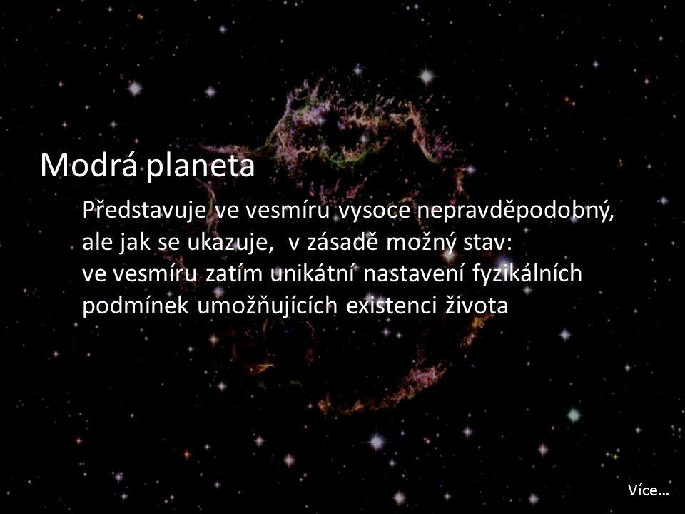 Modrá planeta Představuje ve vesmíru vysoce nepravděpodobný, ale jak se ukazuje, v zásadě možný stav: ve vesmíru zatím unikátní nastavení fyzikálních podmínek umožňujících existenci života Více…