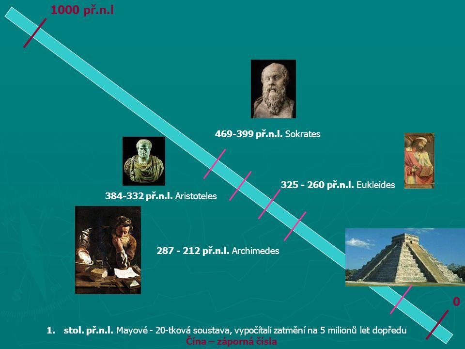 0 1000 př.n.l 469-399 př.n.l. Sokrates 384-332 př.n.l. Aristoteles 325 - 260 př.n.l. Eukleides 287 - 212 př.n.l. Archimedes 1.stol. př.n.l. Mayové - 2