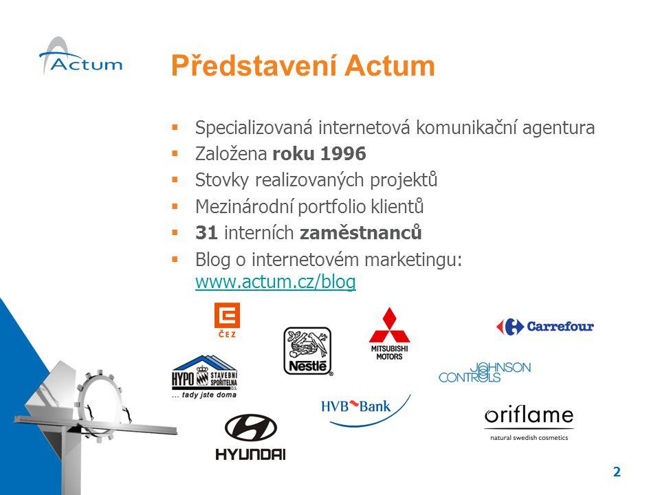 2 Představení Actum  Specializovaná internetová komunikační agentura  Založena roku 1996  Stovky realizovaných projektů  Mezinárodní portfolio klientů  31 interních zaměstnanců  Blog o internetovém marketingu: www.actum.cz/blog www.actum.cz/blog