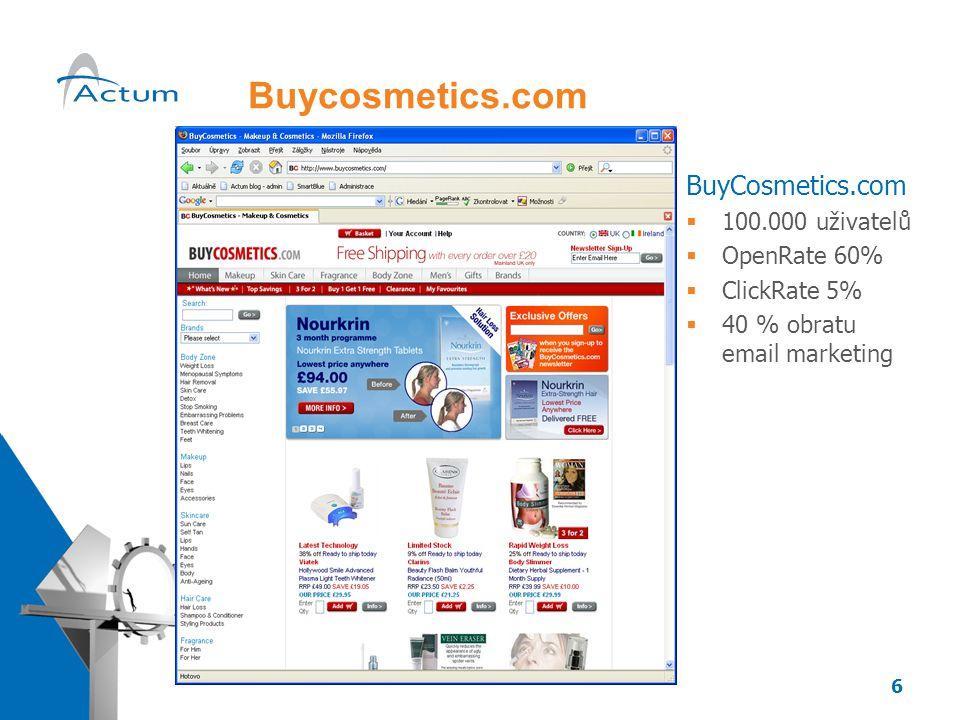 6 Buycosmetics.com BuyCosmetics.com  100.000 uživatelů  OpenRate 60%  ClickRate 5%  40 % obratu email marketing