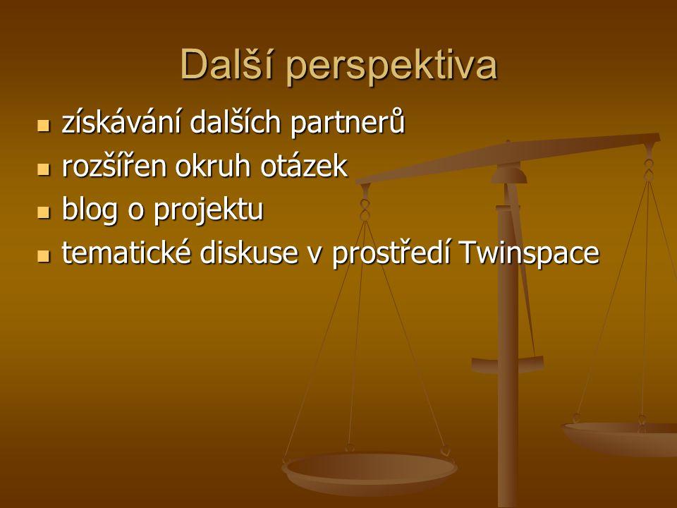 Další perspektiva získávání dalších partnerů získávání dalších partnerů rozšířen okruh otázek rozšířen okruh otázek blog o projektu blog o projektu tematické diskuse v prostředí Twinspace tematické diskuse v prostředí Twinspace