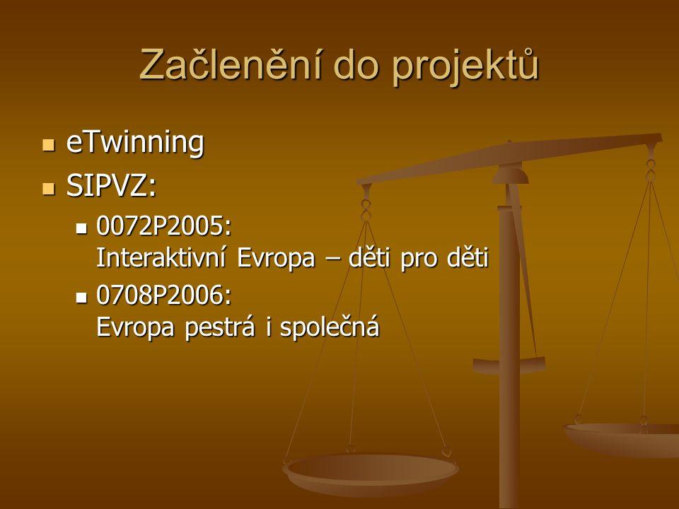 Začlenění do projektů eTwinning eTwinning SIPVZ: SIPVZ: 0072P2005: Interaktivní Evropa – děti pro děti 0072P2005: Interaktivní Evropa – děti pro děti 0708P2006: Evropa pestrá i společná 0708P2006: Evropa pestrá i společná