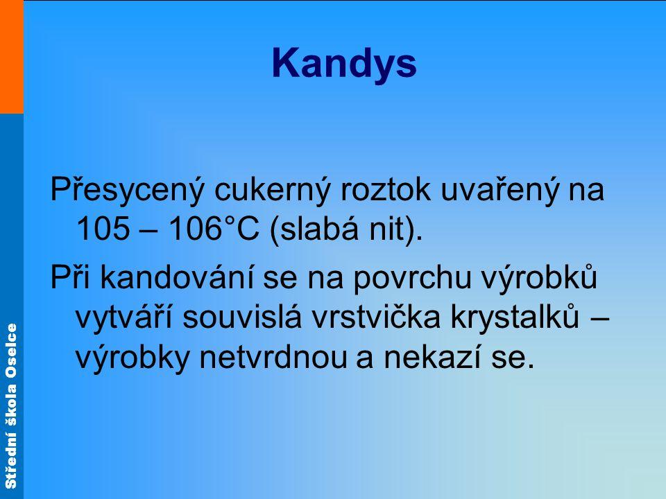Střední škola Oselce Kandys Přesycený cukerný roztok uvařený na 105 – 106°C (slabá nit). Při kandování se na povrchu výrobků vytváří souvislá vrstvičk