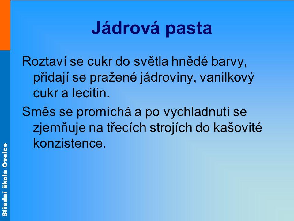 Střední škola Oselce Jádrová pasta Roztaví se cukr do světla hnědé barvy, přidají se pražené jádroviny, vanilkový cukr a lecitin.