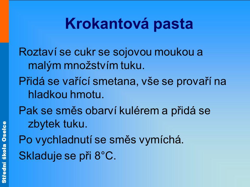 Střední škola Oselce Krokantová pasta Roztaví se cukr se sojovou moukou a malým množstvím tuku.