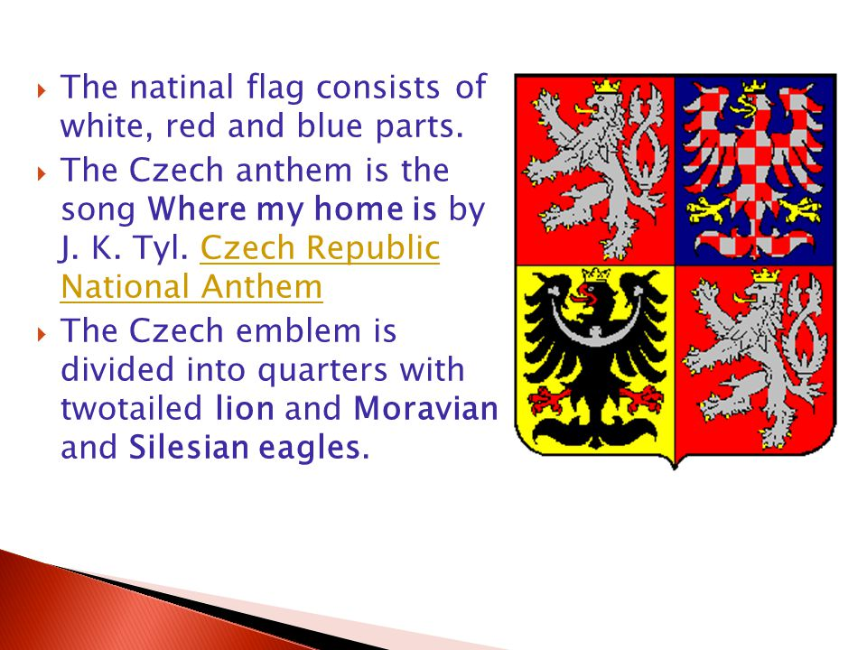  The natinal flag consists of white, red and blue parts.