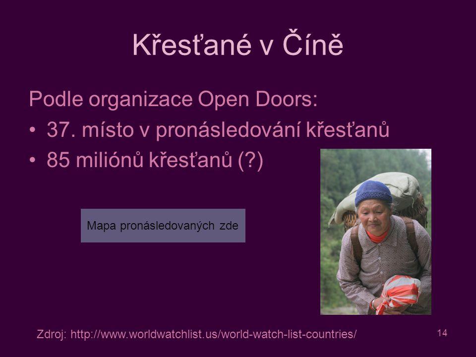 14 Křesťané v Číně Podle organizace Open Doors: 37.