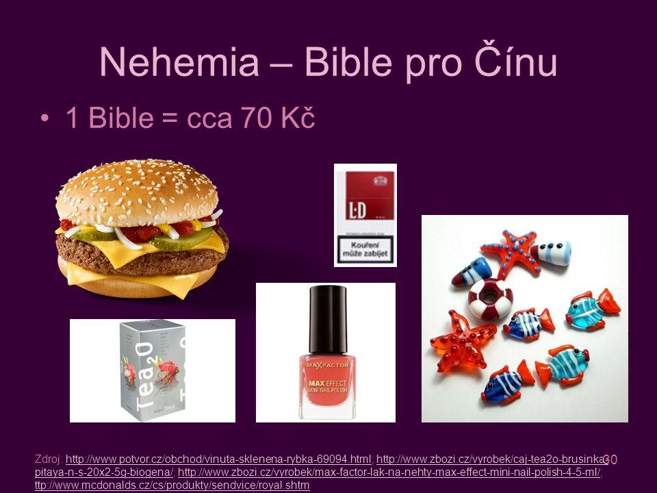 30 Nehemia – Bible pro Čínu 1 Bible = cca 70 Kč Zdroj: http://www.potvor.cz/obchod/vinuta-sklenena-rybka-69094.html; http://www.zbozi.cz/vyrobek/caj-tea2o-brusinka- pitaya-n-s-20x2-5g-biogena/; http://www.zbozi.cz/vyrobek/max-factor-lak-na-nehty-max-effect-mini-nail-polish-4-5-ml/; ttp://www.mcdonalds.cz/cs/produkty/sendvice/royal.shtmhttp://www.potvor.cz/obchod/vinuta-sklenena-rybka-69094.htmlhttp://www.zbozi.cz/vyrobek/caj-tea2o-brusinka- pitaya-n-s-20x2-5g-biogena/http://www.zbozi.cz/vyrobek/max-factor-lak-na-nehty-max-effect-mini-nail-polish-4-5-ml/ ttp://www.mcdonalds.cz/cs/produkty/sendvice/royal.shtm