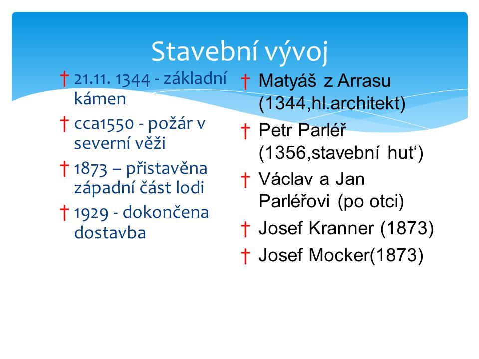 † 21.11. 1344 - základní kámen † cca1550 - požár v severní věži † 1873 – přistavěna západní část lodi † 1929 - dokončena dostavba Stavební vývoj †Maty