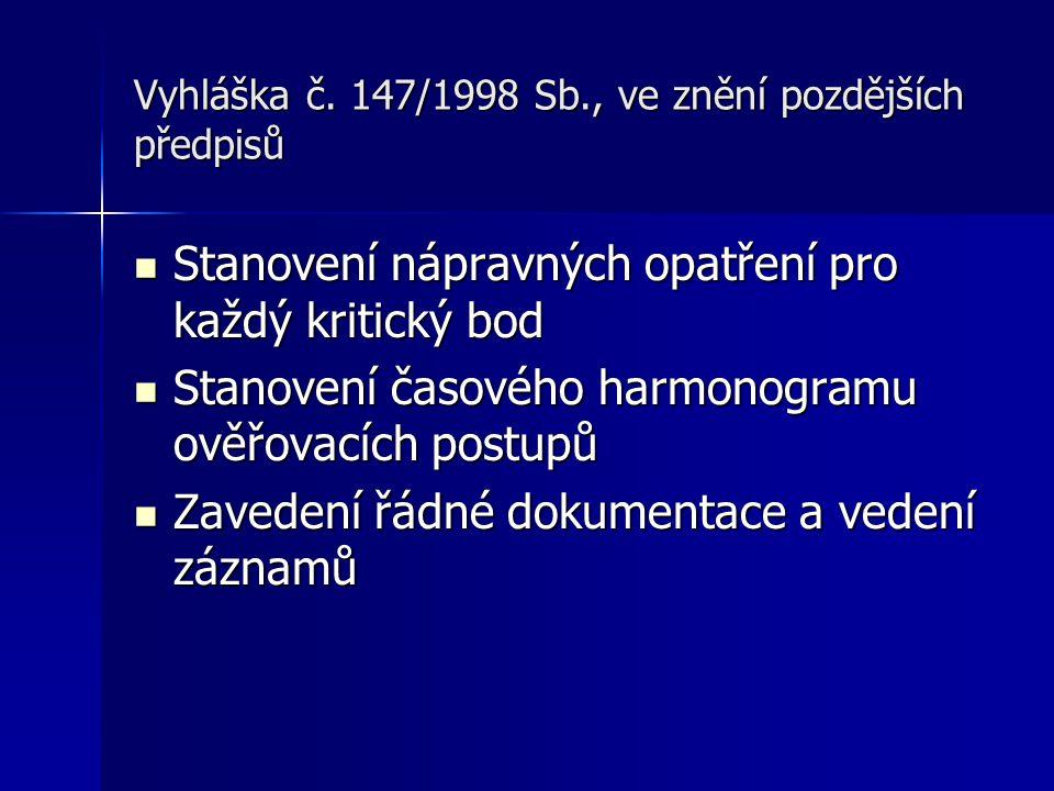 Vyhláška č. 147/1998 Sb., ve znění pozdějších předpisů Stanovení nápravných opatření pro každý kritický bod Stanovení nápravných opatření pro každý kr