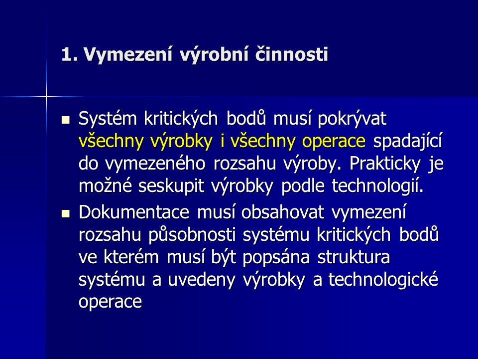 1. Vymezení výrobní činnosti Systém kritických bodů musí pokrývat všechny výrobky i všechny operace spadající do vymezeného rozsahu výroby. Prakticky