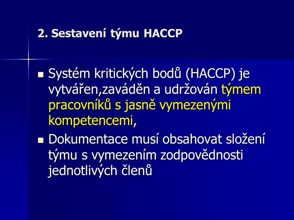 2. Sestavení týmu HACCP Systém kritických bodů (HACCP) je vytvářen,zaváděn a udržován týmem pracovníků s jasně vymezenými kompetencemi, Systém kritick