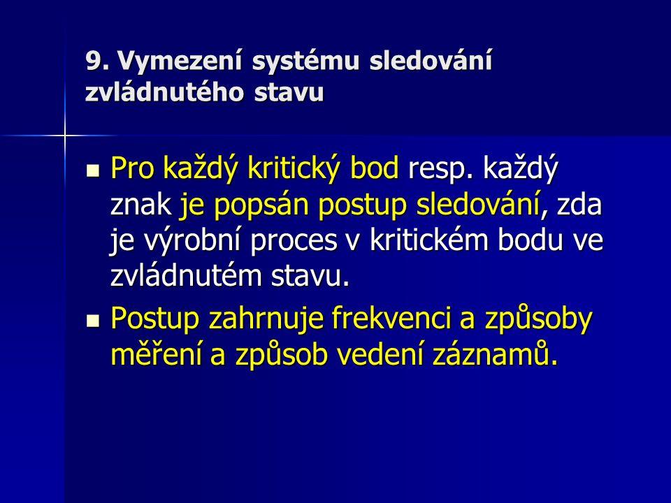 9. Vymezení systému sledování zvládnutého stavu Pro každý kritický bod resp. každý znak je popsán postup sledování, zda je výrobní proces v kritickém