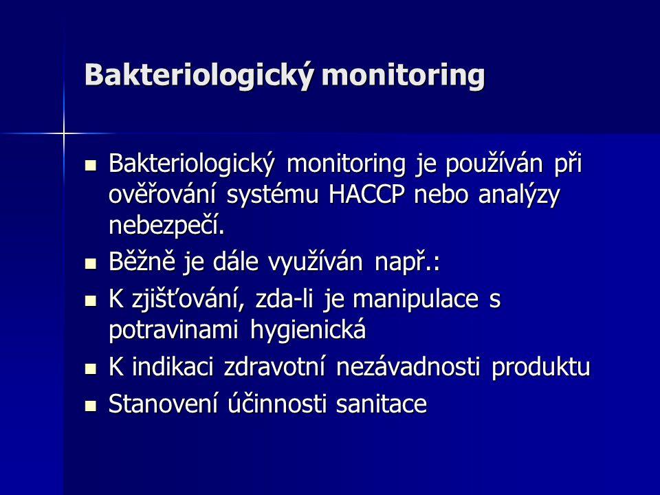 Bakteriologický monitoring Bakteriologický monitoring je používán při ověřování systému HACCP nebo analýzy nebezpečí. Bakteriologický monitoring je po