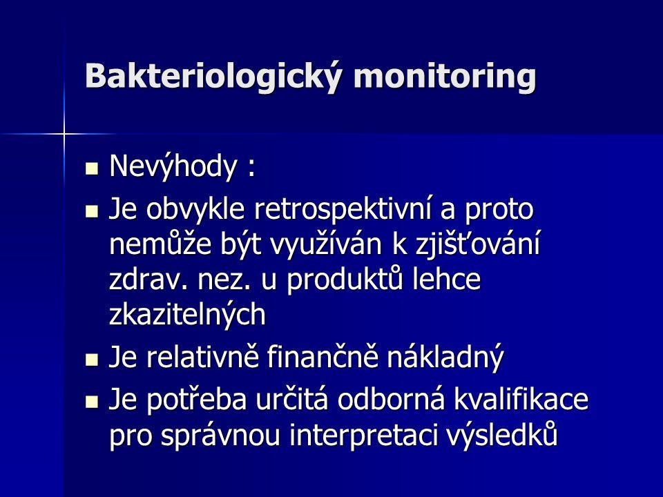 Bakteriologický monitoring Nevýhody : Nevýhody : Je obvykle retrospektivní a proto nemůže být využíván k zjišťování zdrav. nez. u produktů lehce zkazi
