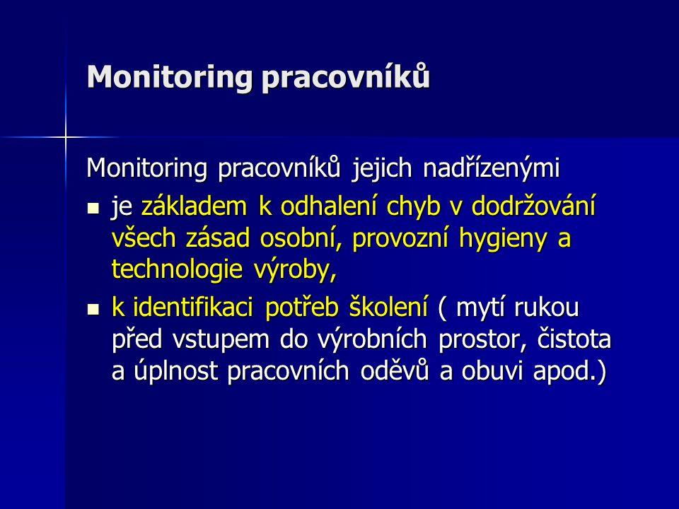 Monitoring pracovníků Monitoring pracovníků jejich nadřízenými je základem k odhalení chyb v dodržování všech zásad osobní, provozní hygieny a technol