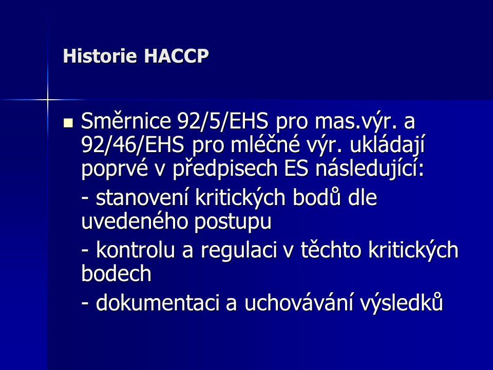 Historie HACCP Směrnice 92/5/EHS pro mas.výr. a 92/46/EHS pro mléčné výr. ukládají poprvé v předpisech ES následující: Směrnice 92/5/EHS pro mas.výr.