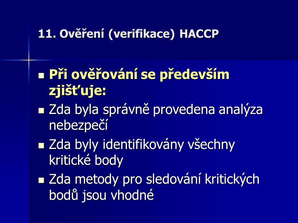 11. Ověření (verifikace) HACCP Při ověřování se především zjišťuje: Při ověřování se především zjišťuje: Zda byla správně provedena analýza nebezpečí