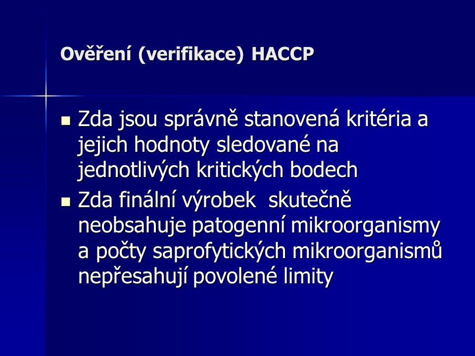 Ověření (verifikace) HACCP Zda jsou správně stanovená kritéria a jejich hodnoty sledované na jednotlivých kritických bodech Zda jsou správně stanovená